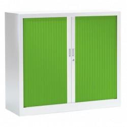 VINCO Armoire Monobloc FUN H100xL120xP43 cm 2 Tablettes Blanc Rideaux Vert