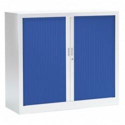 VINCO Armoire Monobloc FUN H100xL120xP43 cm 2 Tablettes Blanc Rideaux Bleu