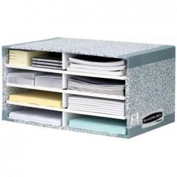 FELLOWES Trieur de bureau R-Kive SYSTEM 8 cases blanc/gris L49xP31xH26cm