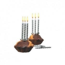 SUSY CARD Lot de 10 bougies d'anniversaire en cire H 65 mm couleur: argent