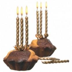 SUSY CARD 10 bougies d'anniversaire en cire H 65 mm couleur: Or