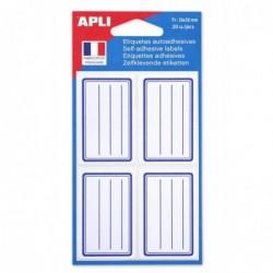 AGIPA Pochette de 20 etiquettes scolaires 36 x 56 mm Cadre et lignes Bleu