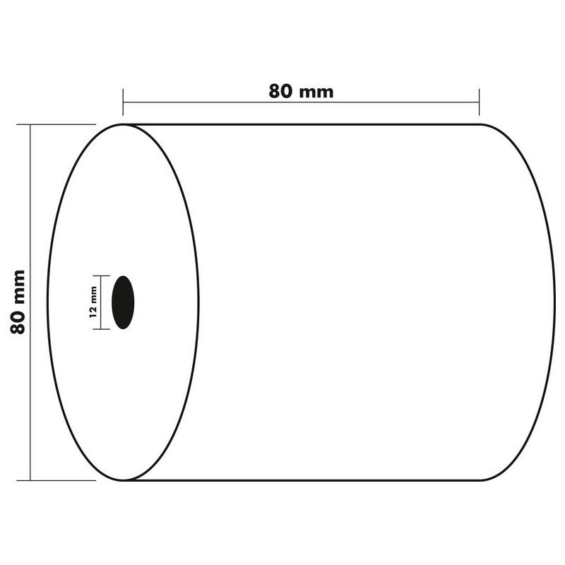 EXACOMPTA Lot de 10 Bobines caisse papier thermique 55g m/2 80 x 80 x 12 mm 78m