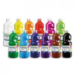 GIOTTO Lot 8 x 1 L Gouache Liquide Prête à l'emploi Pigments Riches Couvrante Assortis