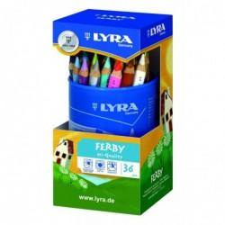 LYRA Pot de 36 crayons de couleur Triangulaires FERBY