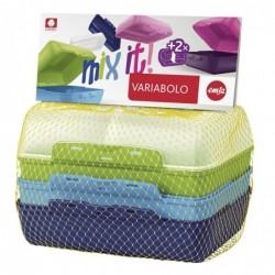 EMSA Pack de 4 Variabolo Demi  Boîte Repas BOY Plastique Multicolore 16x11xH7 cm