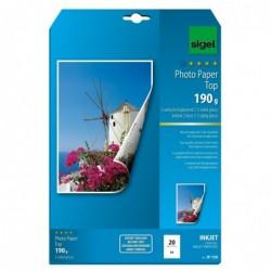 SIGEL Pqt de 20 f papier photo jet d'encre Top A4 190g haute brillance Extra Blanc