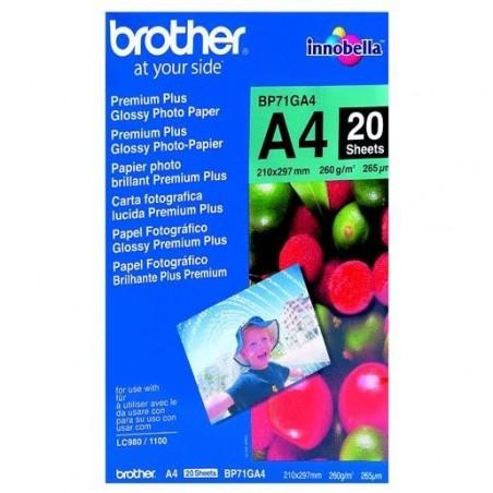 BROTHER Pack de 20 feuilles de papier photo A4 260g BP71GA4