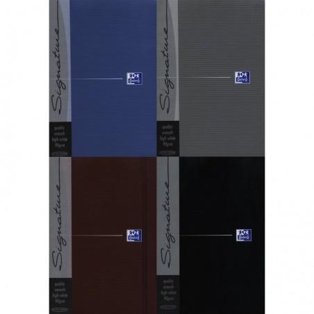 OXFORD Carnet prestige Signature A5 192P 5x5 - Assorti noir/gris/bleu ou chocolat