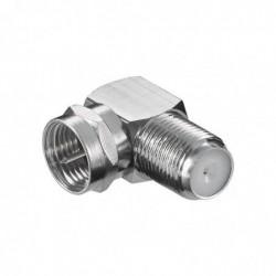 GOOBAY Adaptateur Câble Sat Type F Mâle Femelle 90° Cu, Métal argenté