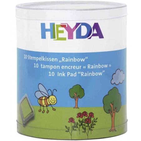 "HEYDA Lot de 10 tampons encreurs ""Rainbow"" 30 x 30 mm Assortis"