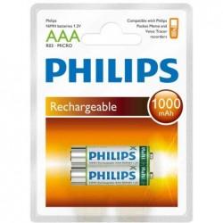 PHILIPS Blister de 2 Accus NiMH Micro (AAA) 1000 mAh pour Pocket Memos