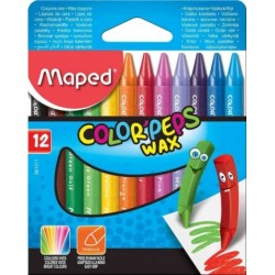 MAPED Etui carton de 12 Crayon de cire COLOR'PEPS WAX Assortis