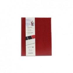 BREPOLS Livre d'or 23,5x29,7cm BELLEGANZA 160 pages uni ivoire Couv. Crocodile Rouge/bordeaux