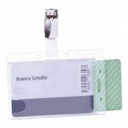 DURABLE lot de 25 double porte-badges avec clip, transparent