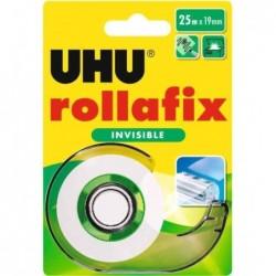 UHU Ruban adhésif rollafix invisible, avec dévidoir 19 mm x 25 m