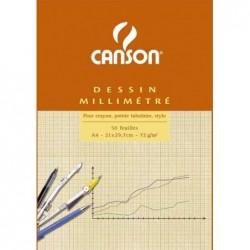 CANSON Bloc de papier millimétré orange A4 80 g 50 feuilles