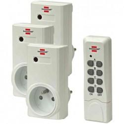 BRENNENSTUHL Kit 3 Prises commutées à télécommande RCS 1000 N Comfort Blanc