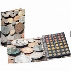LEUCHTTURM Classeur collec. pièces de monnaie couv fantaisie + rech.pour 120  pièces