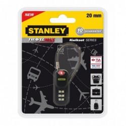 STANLEY Cadenas câble en acier recouvert de vinyle Combinaison 20 mm Noir