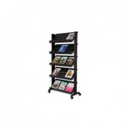 PAPERFLOW Présentoir de sol 5 tablettes mobile noir L 85,5 x H 167,5 x P 38,5 cm