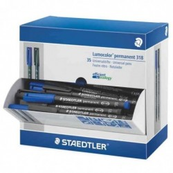 STAEDTLER Présentoir 35 Feutres Permanent Lumocolor 318F Pointe Fine 0,6 mm Bleu/Noir