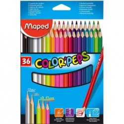 MAPED Etui de 36 Crayons de couleur COLOR'PEPS Triangulaire Assortis