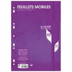 CALLIGRAPHE Feuillets mobiles s/film 21x29,7 200p Q.5x5 90g Blanc