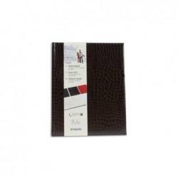BREPOLS Livre d'or 23,5x29,7cm BELLEGANZA 160 pges unies ivoires. Couverture grain crocodile brun