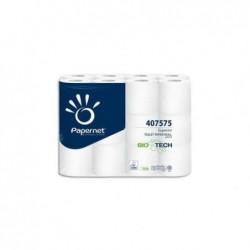 PAPERNET Paquet 24 rouleaux de Papier toilette BioTech 2 plis pure cellulose L19,80m blanc