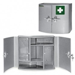 LEINA-WERKE Armoire à pharmacie Sani Cab 2 portes L385xP180xH325 mm Livrée vide Argent