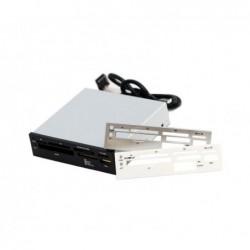 RHOMBUTECH Lecteur de carte 3.5 USB 2.0 (maxi 480 MBit/s) panneaux interchangeables noir/argenté/blanc