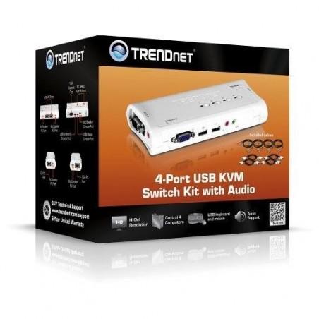 TRENDNET Kit de Switch KVM USB à 4 Ports avec Fonction Audio