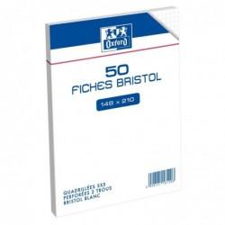 OXFORD Sachet de 50 fiches bristol quadrillé 148x210 mm 5x5 perforée blanc