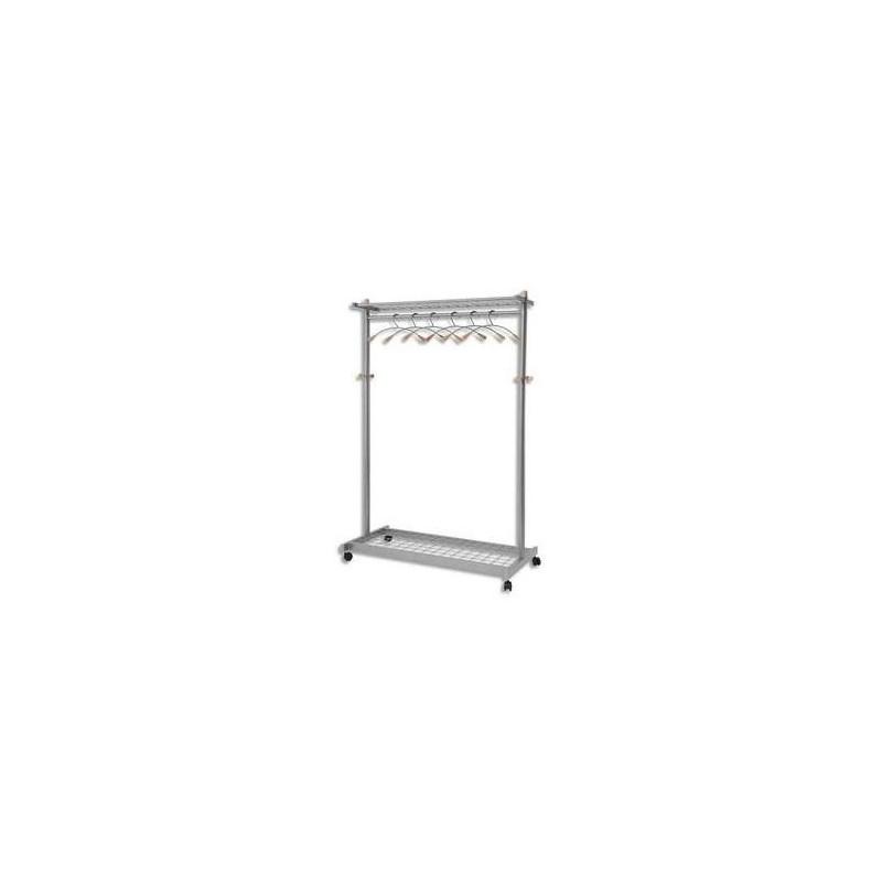 ALBA Portemanteau vestiaire mobile 2 étagères 6 crochets + 6 cintres L114 x H180 x P55 cm métal et bois