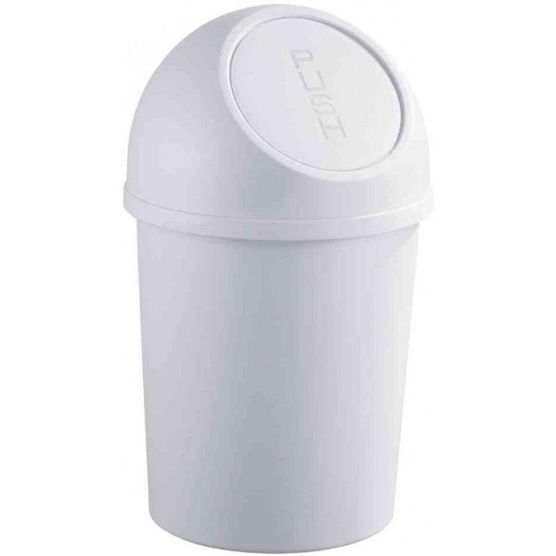 HELIT Poubelle à clapet Push 6 litres Diam 21cm H37,5 cm Gris