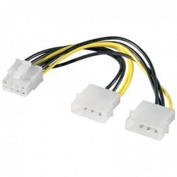 GOOBAY Câble adaptateur alimentation PC 2xMolex 5.25 mâle/1xPCIExpress 8P femelle, 15cm