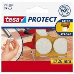 TESA Etui de 9 Feutres Antiglisse/anti-rayures Diam 26 mm Blanc