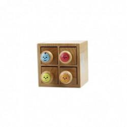 MAILDOR Boîte avec 4 tampons encreurs en bois Multicolore Appréciation Smyley