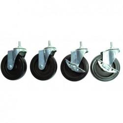 ALBA Lot 4 Roues Diam 5 cm dont 2 Freinées Caoutchouc et métal pour étagères Mobi