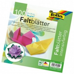 FOLIA Lot de 100 Feuilles Papier Origami 200 x 200 mm 70g/m2 Assorties Intenses