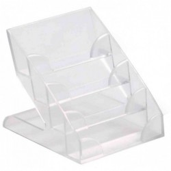 DURABLE Présentoir Porte - Cartes 4 Compartiments en Escalier pour 240 Cartes Plastique Rigide Transparent