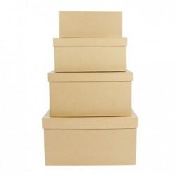 DÉCOPATCH Pack 4 boîtes rectangle 8x19x7/17x28x15cm à décorer
