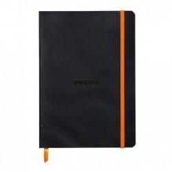 CLAIREFONTAINE RHODIARAMA carnet souple BLACK A5 ligné 160p pap ivoire Clf 90g ferm. élast.