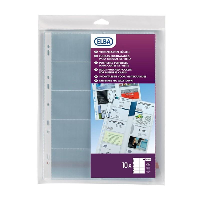 ELBA Sachet de 10 pochettes perforées PVC pour carte de visite