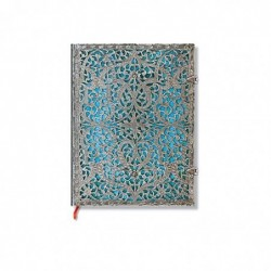 PAPERBLANKS Carnet Filigrane Argenté Maya Bleu Ultra 18x23cm 240 pages lignées