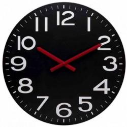 UNILUX Horloge murale radio-pilotée Mega Noir 60 cm Aiguilles Rouges