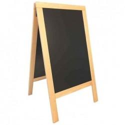 SECURIT Panneau trottoir DELUXE avec tableau Noir Cadre Hêtre 70 x 135 cm