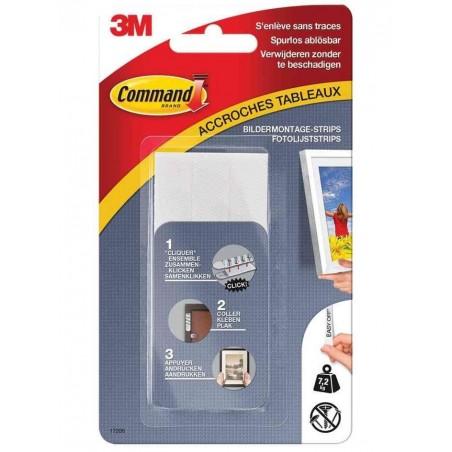 COMMAND Pack 4 x 2 Bandes adhésives pour Cadre Taille L Max 7,2Kg Blanc