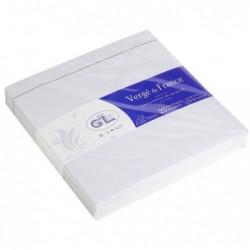 G.LALO 25 enveloppes Vergé doublées 140x140mm gommées Blanc